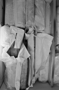 [Flood-damaged books were wrapped then frozen to prevent mold and bacteria growth, view 5] [picture].