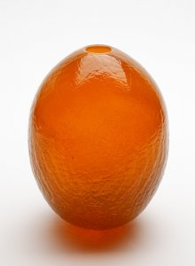 "Large Orange ""Crackle"" Egg Form Prototype"
