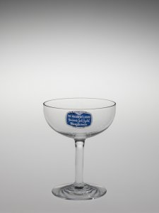 """Saucer Champagne Glass in """"The President's House"""" Pattern"""
