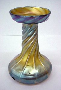 Iridescent Ribbed Vase