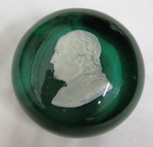 Paperweight with Sulphide of Benjamin Franklin