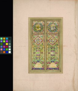 613 [watercolor design for stained glass window] [art original].
