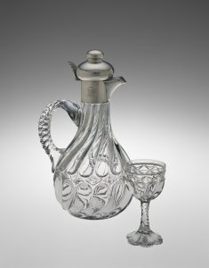 """Decanter and Wineglass in """"Twin City"""" Pattern"""