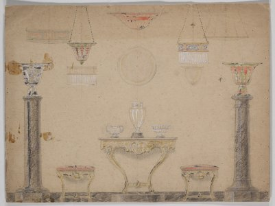 [Design drawing for floor display at 1905 Brussels Fair] [art original].