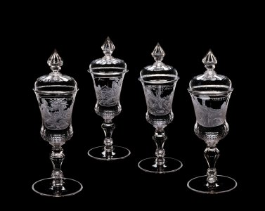 Four Covered Goblets Engraved with the Four Continents