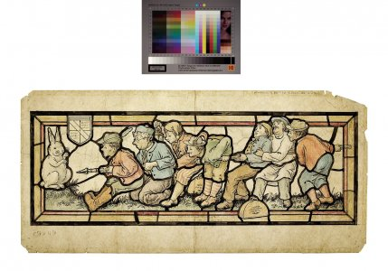 [Colored pencil design for stained glass window of men pointing spear at rabbit] [art original].