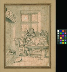[Early 17th century pen and ink drawing of Dutch interior with lampworker at table] [art original].