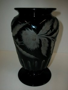 Black Cased Engraved Vase