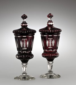 2 Covered Goblets with Odd Fellows Motif