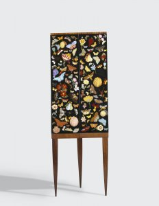 Corner Cabinet with Reverse-Painted Glass Doors