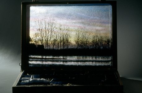 Sunset painter case (image of ticinun river park, Italy) [slide].