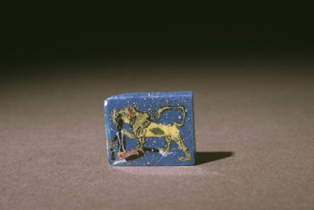 Mosaic Plaque with Lion Attacking Man