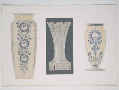 [Design drawing for three vases with floral motif] [art original].
