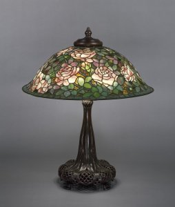 Rose Lamp with Bronze Base