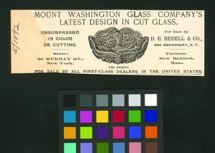 [Advertisement for latest design in cut glass featuring image of The Regent] [advertisement].