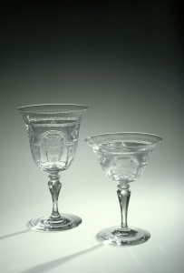 """Goblet and Sherbet in """"Adam # 2"""" Pattern"""