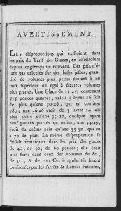 Nouveau tarif du prix des glaces, 1791.