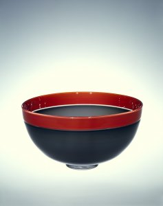 Gray bowl with red band