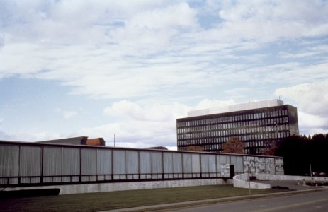 [The Corning Glass Center building with Corning Glass Works office building in the background, 1971] [slide].