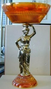 """Carnival Glass Epergne with Caryatid in """"Marigold"""" Pattern"""