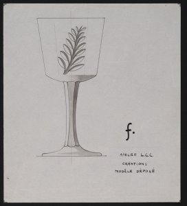 [Design drawing for cut glass goblet with leaf] [art original].