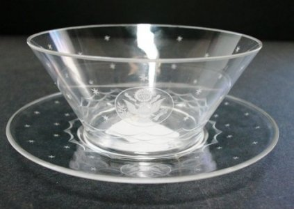 Finger Bowl with Underplate Engraved with The Great Seal of the United States