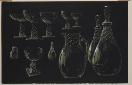 [Design drawing for decanters, pitchers, and goblets] [art original].