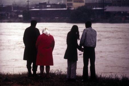 [People watching the rising Chemung river, June 22, 1972] [slide].