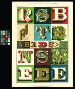 Examples of raised and shaded letters for glass and wood signs [picture].