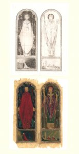 Saints Doulough and Columba, 1925 [art original]: proposed design for two-light window, Chapel of the Oblate Fathers, Belcamp, Co. Dublin.