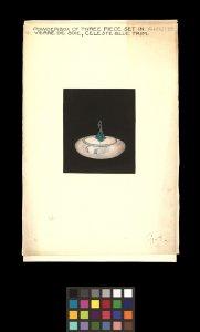 Powder box of three piece set in alabaster and verre de soie, celeste blue trim [art original].