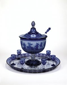 Lidded Punch Bowl, Tray and 15 Glasses