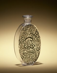 Oval flask with black-enameled leaves [transparency]