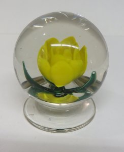 Paperweight with Yellow Rose