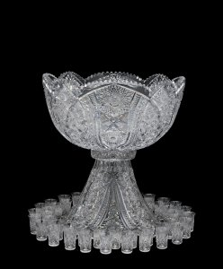 "Punch Bowl and 44 Cups in the ""Tiffany"" Pattern"