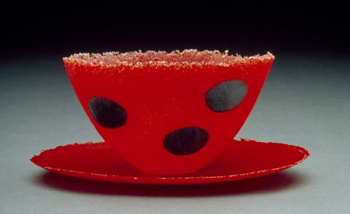 Cup and saucer with black dots [slide].