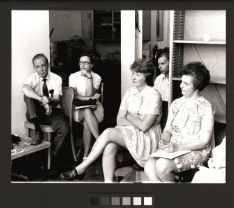 [Museum staff meeting (left to right) Clifford Olmstead, Norma Jenkins, Priscilla Price, Bill Warmus, and Jane Lanahan] [picture].