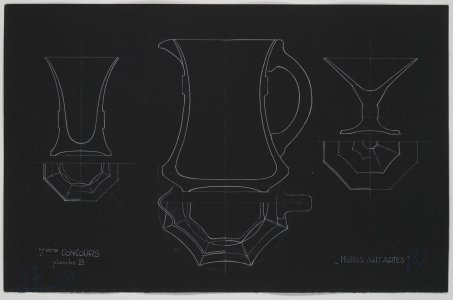[Design drawing for pitcher and vases] [art original].
