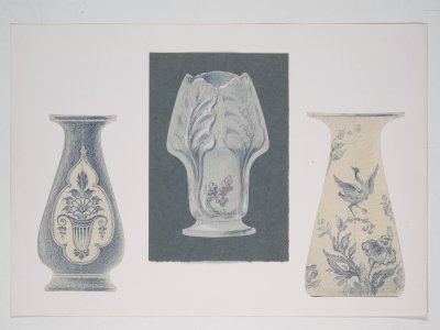 [Design drawing for three vases] [art original].
