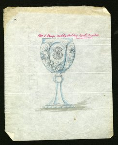 [Design drawing for richly cut rock crystal goblet] [art original].
