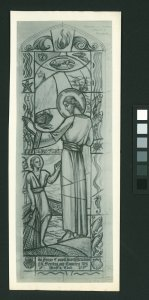 [Stained glass cartoon of Jesus with men with fishing nets] [picture].