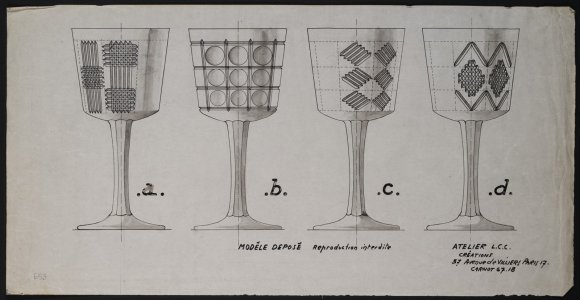[Design drawing for four cut glass goblets] [art original]: modèle déposé: reproduction interdite.