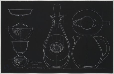 [Design drawing for bowls, decanter, and pitcher] [art original].