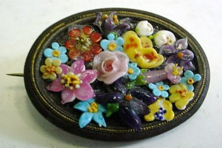 Brooch with Glass Flowers