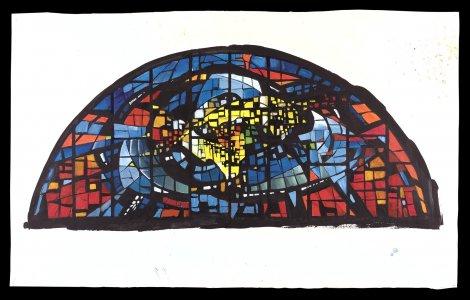 [Arc shaped stained glass window design] [art original].