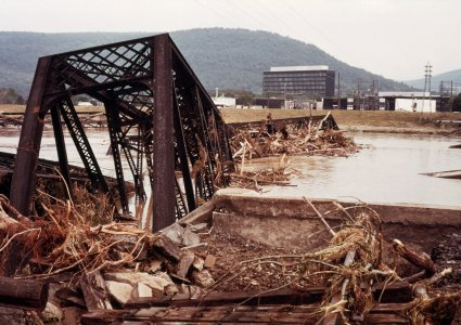 [Train bridge damaged by flood-waters, Houghton Park in background] [picture].