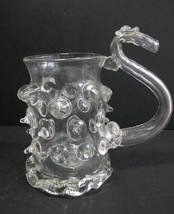 Prunted Beaker with Optic-Blown Handle (Demonstration Vessel)