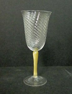 Water Glass with Gold Stem