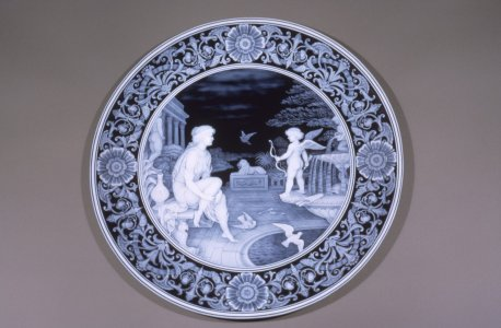 """Cameo plaque of Venus & Cupid, 1890s by George Woodall, Stourbridge, England."" [slide]."