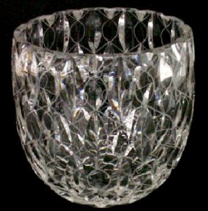 Frank Crystal Ussr Wineglass Vase Cup 50 Years Old Engraving Lettering Handmade 1967s Glass Vases
